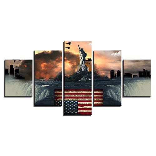 VGFGI 5 Panels Amerikanische Flagge Freiheitsstatue Kriegslandschaft Moderne Leinwand Öl HD-Druck Wandkunst Bild Poster Zimmer Home Decoration