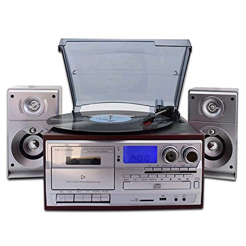 DLY Mahonie Kleur Zilver Oppervlak Vintage Vinyl Phonograph Machine Moderne Woonkamer Europese stijl Radio Tape Speler CD Stereo Bluetooth 31.7 * 27.2 * 15,5 cm Vrij