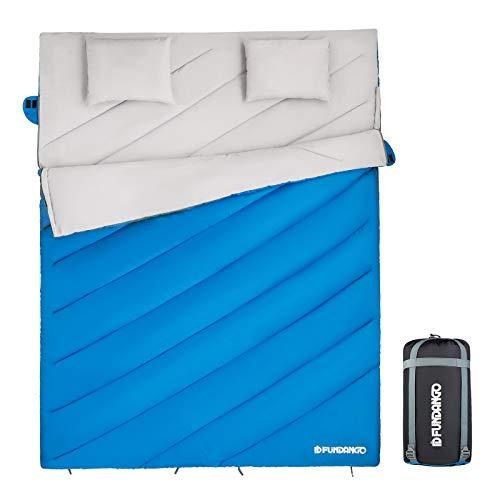 FUNDANGO Saco de Dormir Doble Enorme para Adultos con 2 Almohadas Rectangular Convierte en 2 Sacos Individuales para Camping Excursiones y al Aire Libre 3-4 Estaciones 210 * 152cm