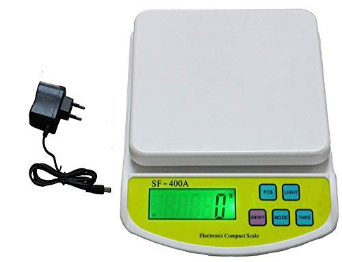 REXBURG Electronic Kitchen Digital Weighing Scale with Tare Function with Adaptor (10 Kg-SF 400A) - White