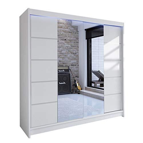 Mirjan24 Kleiderschrank Talin V, Schwebetürenschrank, Garderobenschrank mit Kleiderstange und Einlegeboden, Schlafzimmerschrank, Dielenschrank (Weiß/Weiß + Spiegel, mit RGB LED Beleuchtung)