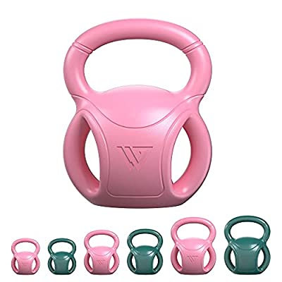RUNWE Kettlebells Weight 5LB, 10 LB and 15 LB for Weightlifting, Conditioning, Strength and Core Training for Home Gym with Three-handles [2021 Upgrade](Pink-10 lb) from RUNWE