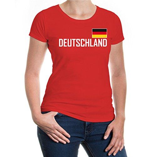 buXsbaum Damen Girlie T-Shirt Deutschland Germany Allemagne Alemania Europa | Ländershirt Trikot Flagge Reise | M, Rot