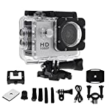 karrychen Waterproof Diving 1080P HD Sports Camera Helmet CAM Video Camcorder DVR DV Action Recorder Electronic Articles- Silver