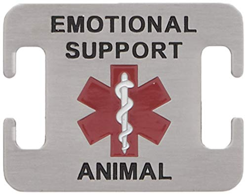 Leashboss Emotional Support Animal ESA Dog ID Tag - Stainless Steel - Attaches to Nylon Collar or Harness (5/8 Inch)
