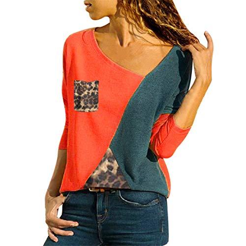 Weibliche Patchwork Pullover Frauen Plus Size Shirt Asymmetrische Hals Patch Tasche Farbe Block Leopard T-Shirts Moonuy