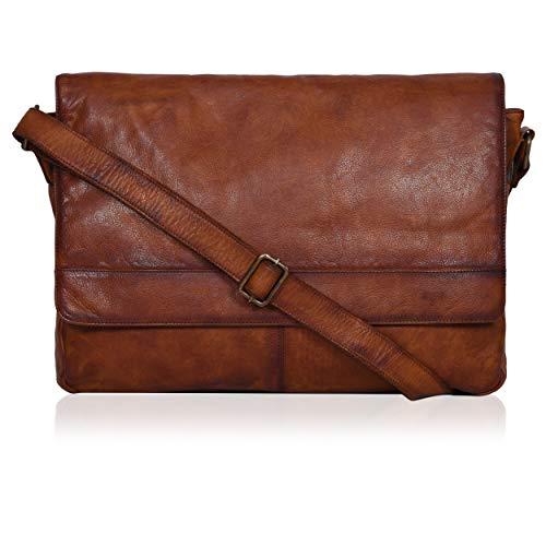 "Tan Leather Messenger Bag for Men/Women 17"" Zipper Laptop Briefcase"