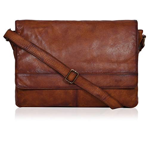 Tan Leather Messenger Bag for Men/Women 17' Zipper Laptop Briefcase