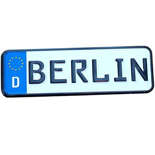 Placa de matrícula magnética BERLIN | imán de estaño de 9x3 cm con perforación en relieve | típico souvenir y regalo