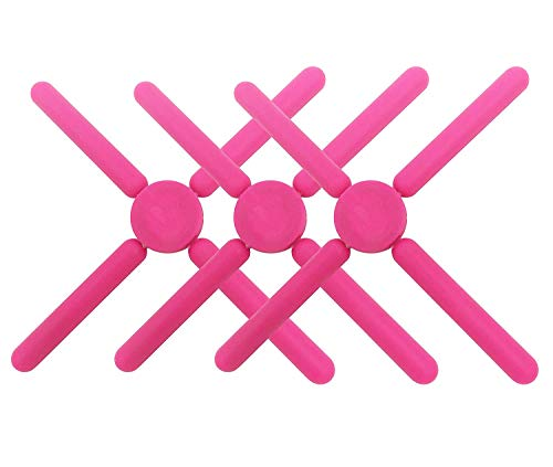 3/Pack Foldable Silicone Trivets, FENGCHEN Folding Trivet, Non-Slip Collapsible Cross Compact Design Expandable Silicone Pot Holder,Pink