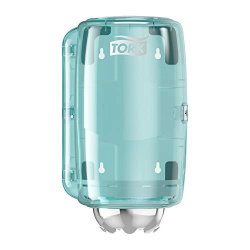 Tork 658000 Mini Innenabrollungsspender für M1 Papierwischtücher im Performance Design / Wischtuchspender für hygienische Einzeltuchentnahme in Weiß-Türkis