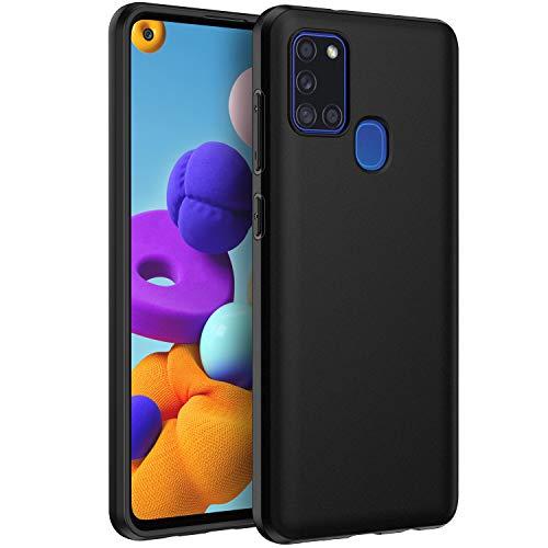 EasyAcc Hülle Case für Samsung Galaxy A21S, Schwarz TPU Telefonhülle Matte Oberfläche Handyhülle Schutzhülle Schmaler Telefonschutz Kompatibel mit Das Samsung Galaxy A21S