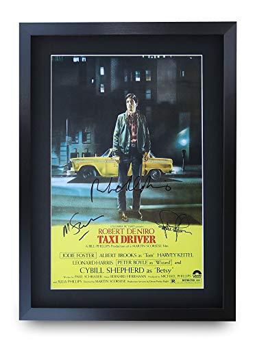 HWC Trading Taxi Driver A3 Encadré Signé Image Autographe Imprimé Impression Photo Cadeau D'Affichage pour Robert De NIRO Jodie Foster Martin Scorsese Les Amateurs De Cinéma