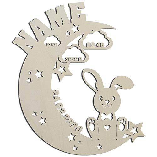 Hase auf dem Mond Nachtlicht I Personalisiertes Baby-Geschenk zur Geburt und Taufe - LED Hintergrund-Beleuchtung I Batteriebetrieben