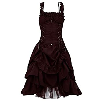 Women s Steampunk Gothic Black Lace up Dresses Vintage Sleeveless Ruffled Victorian Cosplay Skirts S-5XL