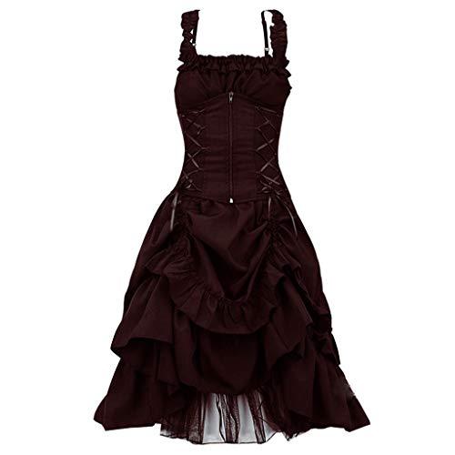 BIKETAFUWY Steampunk Damen Kleid Punk Gothic Kleid Lolita Vintage Bandage Empire Ärmellos Bandeau Prinzessin Kleid Maxikleid Ballkleid Partykleid Fasnacht Abendkleid
