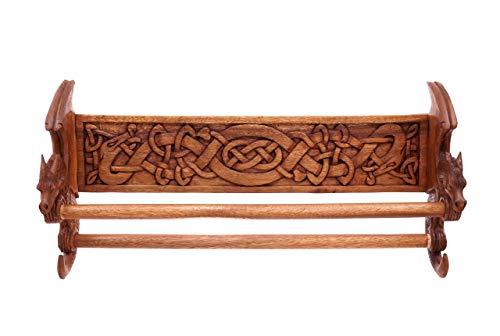 windalf Vikings toallero dracan B: 59cm dos Dragón Celta nodos mano de madera