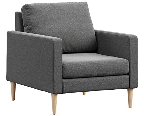 Campaign Steel Frame Brushed Weave Accent Chair, 33 Inches, Flint Grey with Solid Maple Legs