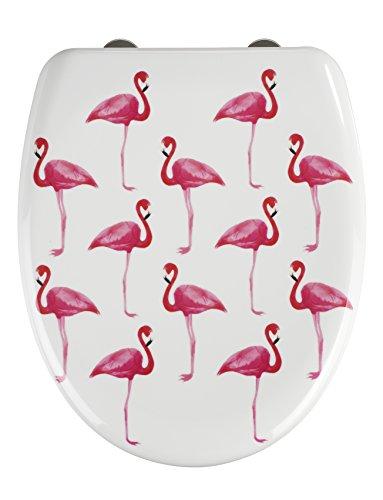 Wenko WC-Sitz Flamingo, Toilettensitz mit Absenkautomatik, Fix-Clip Hygiene-Befestigung, WC-Deckel aus Duroplast
