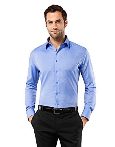 Vincenzo Boretti Herren-Hemd bügelfrei 100% Baumwolle Slim-fit tailliert Uni-Farben - Männer lang-arm Hemden für Anzug Krawatte Business Hochzeit Freizeit blau 39/40