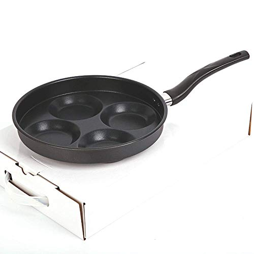 Non-Stick Pan Four-Hole vlakke bodem Household Mini gepocheerd ei Hamburger Egg Dumpling Pan Multi-Function Mold Health and Safety / 25x42cm wok (Color : As Shown, Size : 25x42cm)