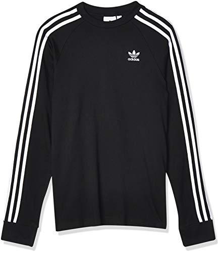 adidas 3-Stripes LS T Camiseta de Manga Larga, Hombre, Black, L