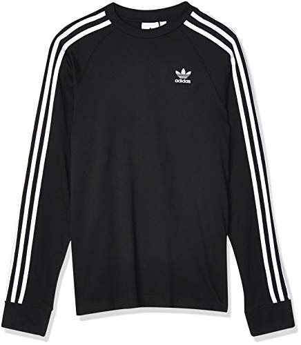 adidas 3-Stripes LS T Camiseta de Manga Larga, Hombre, Black, S