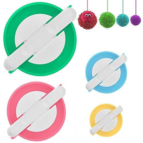 Xinlie Set da 4 Pezzi Pom Maker, Strumento per Creare Pompon Pom Pom Maker, Utensili per Tessitura,Hair Ball, 4 Taglie, Kit di Utensili per Maglia di Lana DIY (Verde, Rosa, Blu, Giallo)