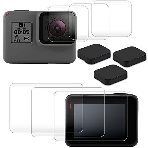 AFUNTA Bildschirm Objektiv Schutzfolie für GoPro Hero 6mit Objektiv Kappen, 3Packungen (6PCS) Kratzfest gehärtetem Glas Film Zubehör und 3PCS Objektivschutz für Hero 6Action Kamera