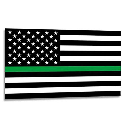 Thin Green Line American Flag Sticker - 2.5 x 4.5 Inches