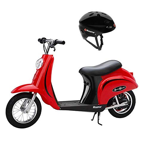 Razor Pocket Mod Miniature Euro 24V 250W Toy Electric Motor Scooter Helmet, Red - Speeds up to 15 MPH