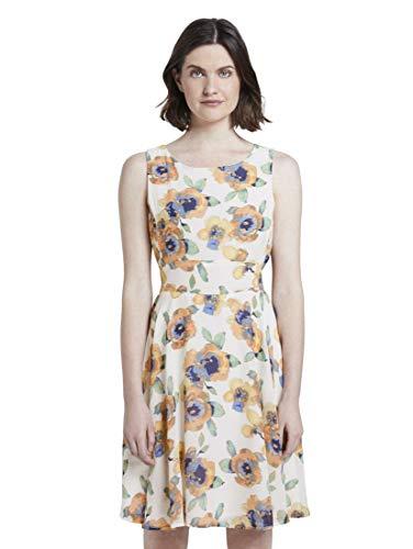 TOM TAILOR Damen Chiffon Kleid, Mehrfarbig ( 23692 - offwhite floral desi ) , 42