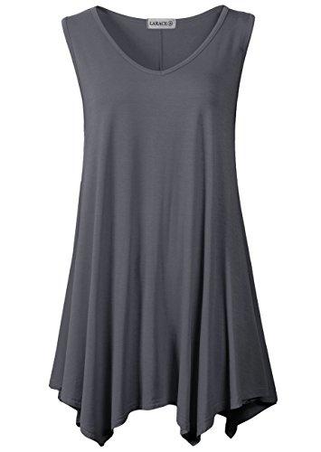 LARACE Women V-Neck Tank Top Tunic for Leggings(L, Deep Gray)