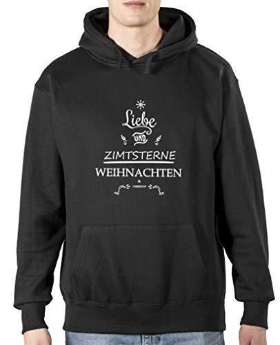 Comedy Shirts Sweat à capuche pour homme avec inscription « Liebe und Zimtstern » et manches longues - Noir - Taille L