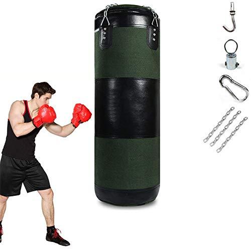 EnweLampi Profi Boxing Boxsack Set, Canvas Ungefüllt Punchingsäcke, Für Boxpartner Boxing Trainer Fitness Dekompression Kick Kampftraining|Grün,90cm