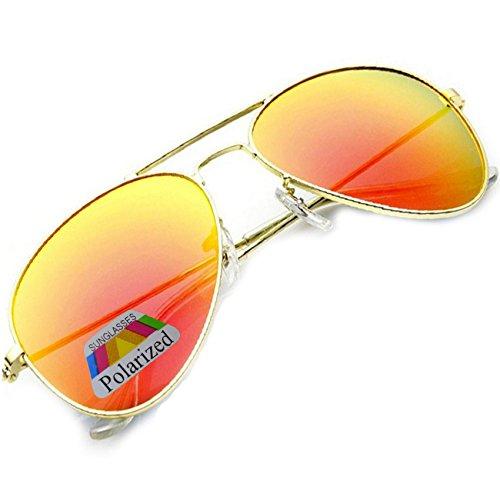 MFAZ Morefaz Ltd Herren Damen Lila Sonnenbrille Klassische Pilotenbrille Polarisierten Gespiegelt Pilot Mehrfarbig (Orange Gespiegelt)