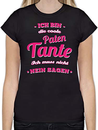 Schwester & Tante - Ich Bin die Coole Patentante - M - Schwarz - L191 - Tailliertes Tshirt für Damen und Frauen T-Shirt