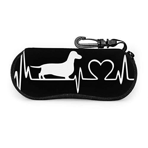 sherry-shop - Funda para gafas de sol con diseño de corazón de teckel con clip para cinturón, funda de protección suave de neopreno con cremallera, 17 cm × 8 cm