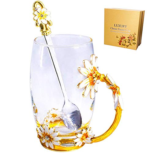Glass Tea Mug, Lead Free Handmade Enamel Daisy Flower Coffee Cup Set with Handle, Unique Valentine's Day Birthday Gift Ideas for Women Mom Grandma Teachers Couples Friend for Hot Beverages - 13oz Gold