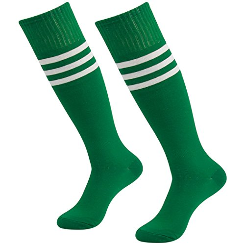 3street Baseball Soccer Socks, Unisex Sport Sweat-Absorbent Knee High Sport Athletic Football Soccer Softball Socks Navy 2-Pairs,7-13