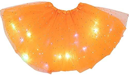 ARMAC Falda tut con lentejuelas para nias con falda LED iluminada falda de princesa con lentejuelas vestido de cumpleaos