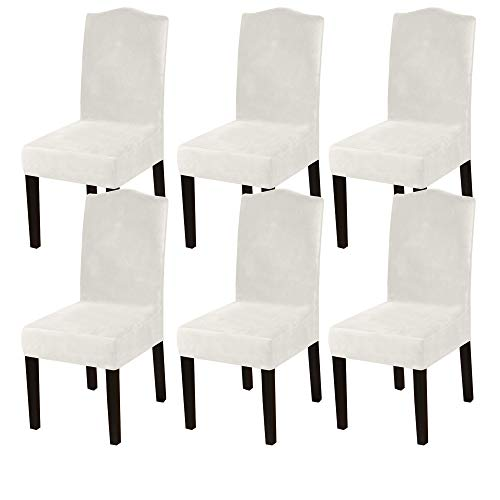 DiningChairCoversStretch Chair Covers for Dining Room Velvet Chair Protector Covers Slipcover Parson Chair Covers Set of 6 forHotel Ceremony, Thick Soft Modern Style, Ivory, 6