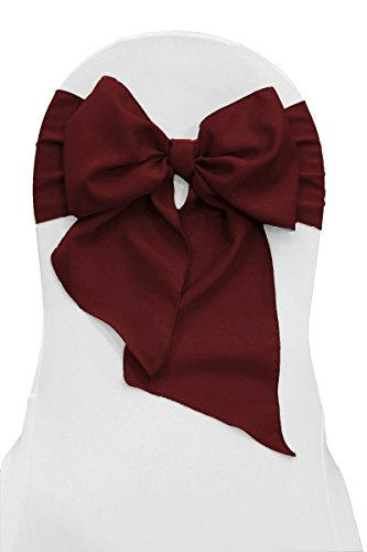 LA Linen Polyester Poplin Chair Bow Sashes, 7 by 108-Inch, Burgundy, 10-Pack