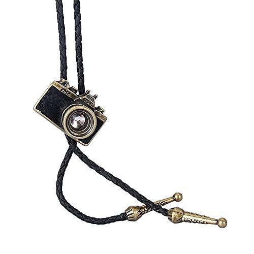 Lztly Corbata bolo Bolo Corbata Hombres y Mujeres Collar de joyería Hecha a Mano de la cámara de Cuero de la aleación Vieja Trenzado Cuello Largo Vaquero Corbata (Color : Gold)