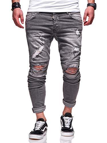 MT Styles Herren Jeans Destroyed Jeanshose Grau Slim Fit JN-3230 [Grau, W33/L32]
