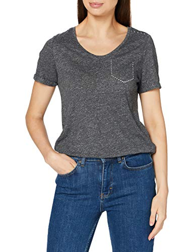 Street One Damen 315261 Kurzarmshirt mit Nieten T-Shirt, Prime Anthracite Melange, 44