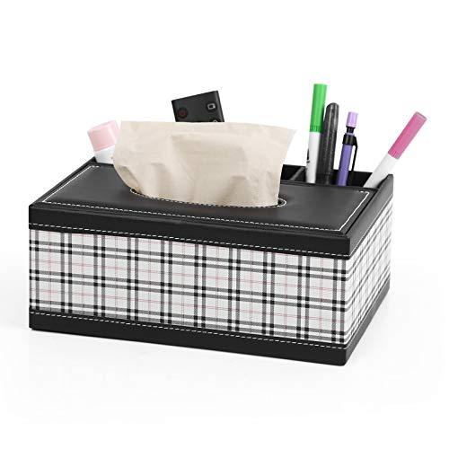 Robasiom Multifunktionale Aufbewahrungsbox aus PU-Leder für Stifte, Bleistifte, Fernbedienung, Taschentuchbox, Schreibtisch-Aufbewahrungsbox für Zuhause und Büro (gemustert)