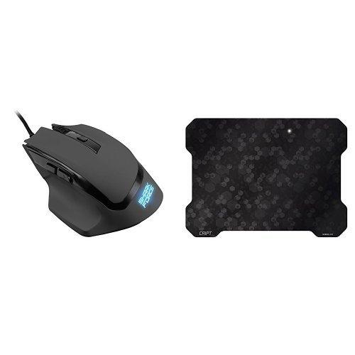 Set Sharkoon Shark Force Gaming Maus schwarz + Speedlink SL-620102-BK CRIPT Ultra dünnes Gaming Mousepad schwarz