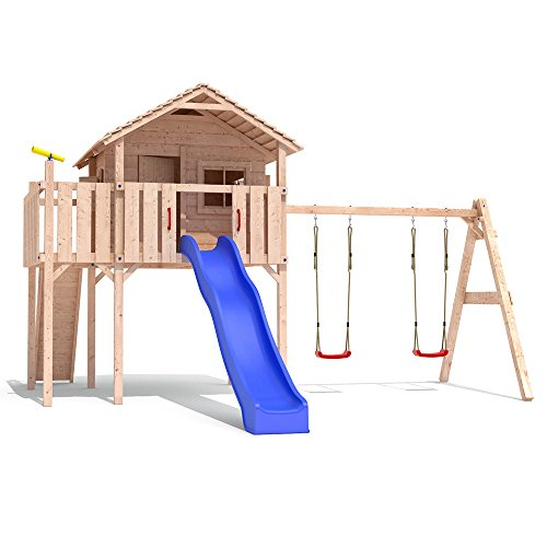 Spielturm COLINO Stelzenhaus Baumhaus Holzspielhaus Rutsche Schaukel Gartenhaus (einfacher Schaukelanbau)