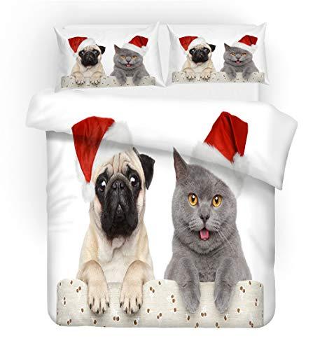 SK-PBB Bettwäsche-Set mit Merry-Christmas-Design, 1 Deckenbezug, 2 Kissenbezüge,...